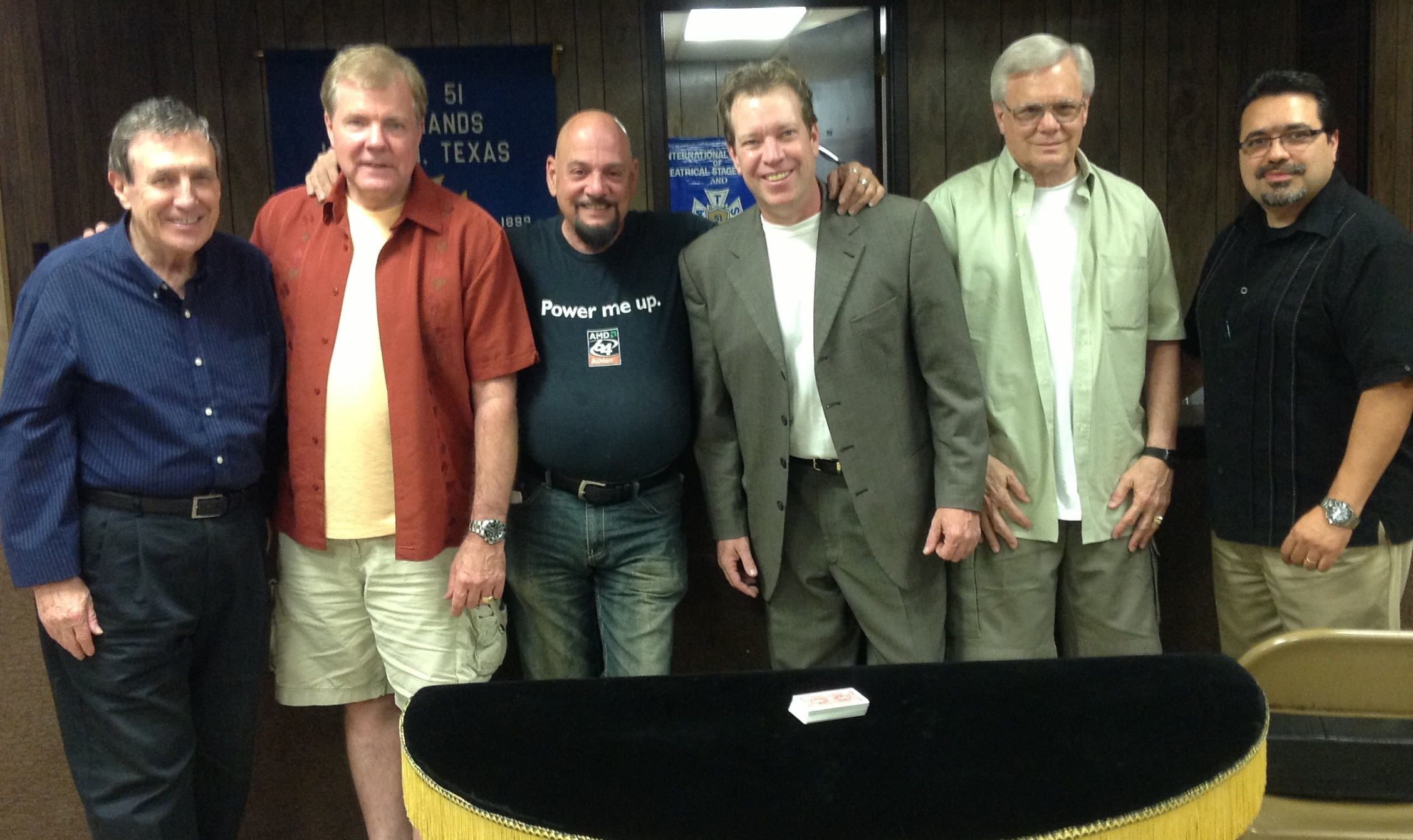 """Some of the """"old crew"""" who worked together when John was a frequent visitor to The Magic Island. From left to right, Scott Hollingsworth (former Entertainment Director), Scott Wells, Phil Kampf, John Shryock, Frank Price and Jamie Salinas."""