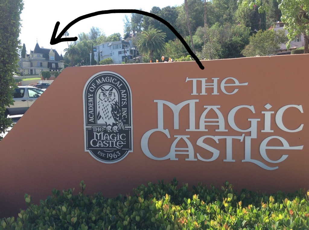 Your first view of The Magic Castle on Franklin Ave. from the east end of the parking lot.