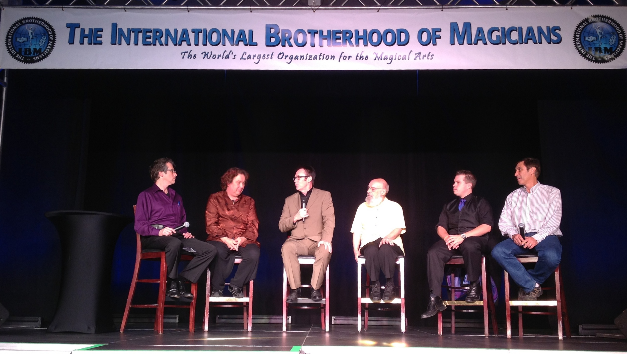 "Panel Discussion following the movie, ""Make Believe"" featuring (from left to right) moderator Larry Haas, Jeff McBride, Lance Burton, Eugene Burger, Bill Koch and Nicholas St. Ern."