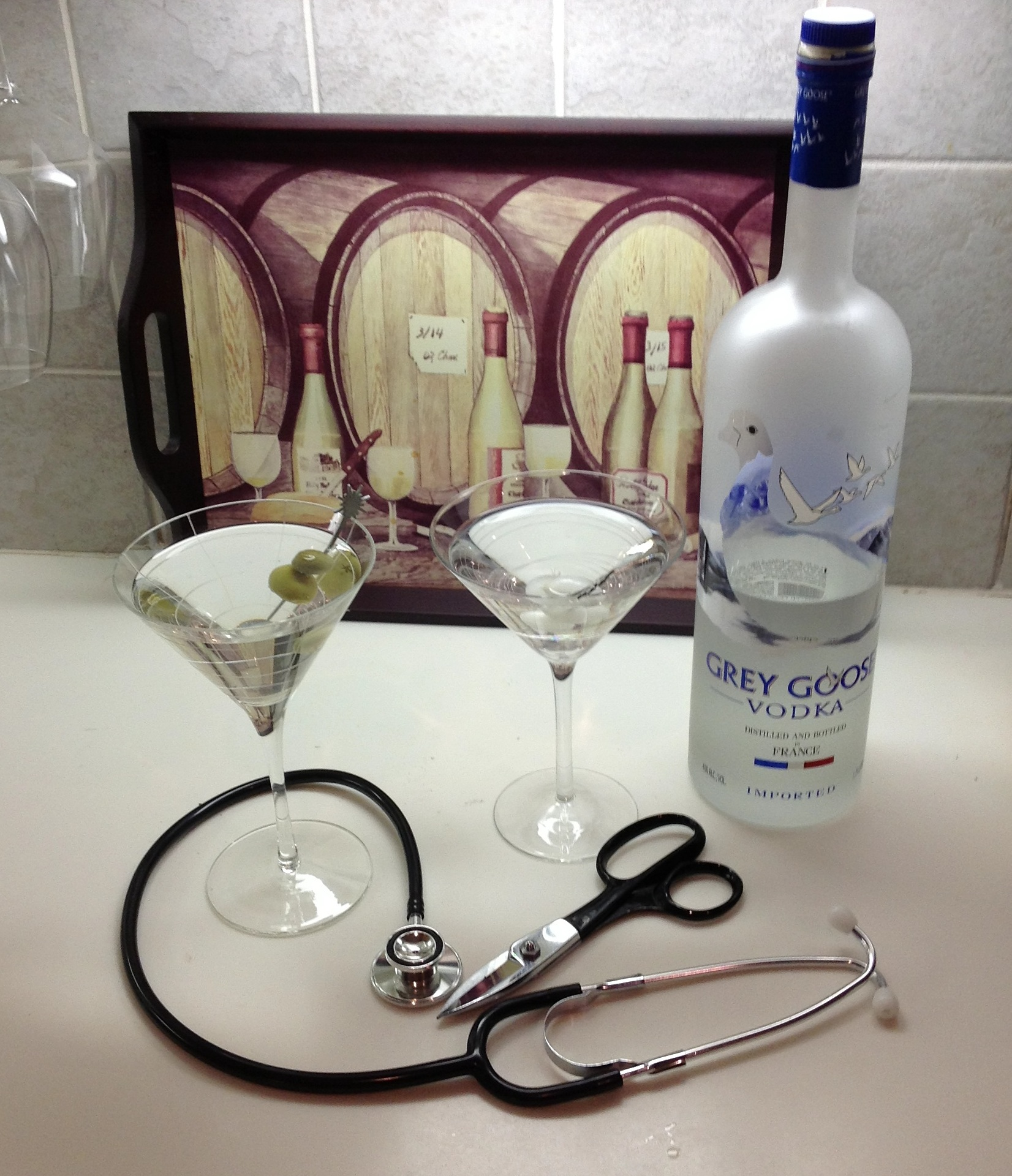 After performing magic at the hospital, it's time for a little R&R...well, actually, M&M (Magic and Martinis).