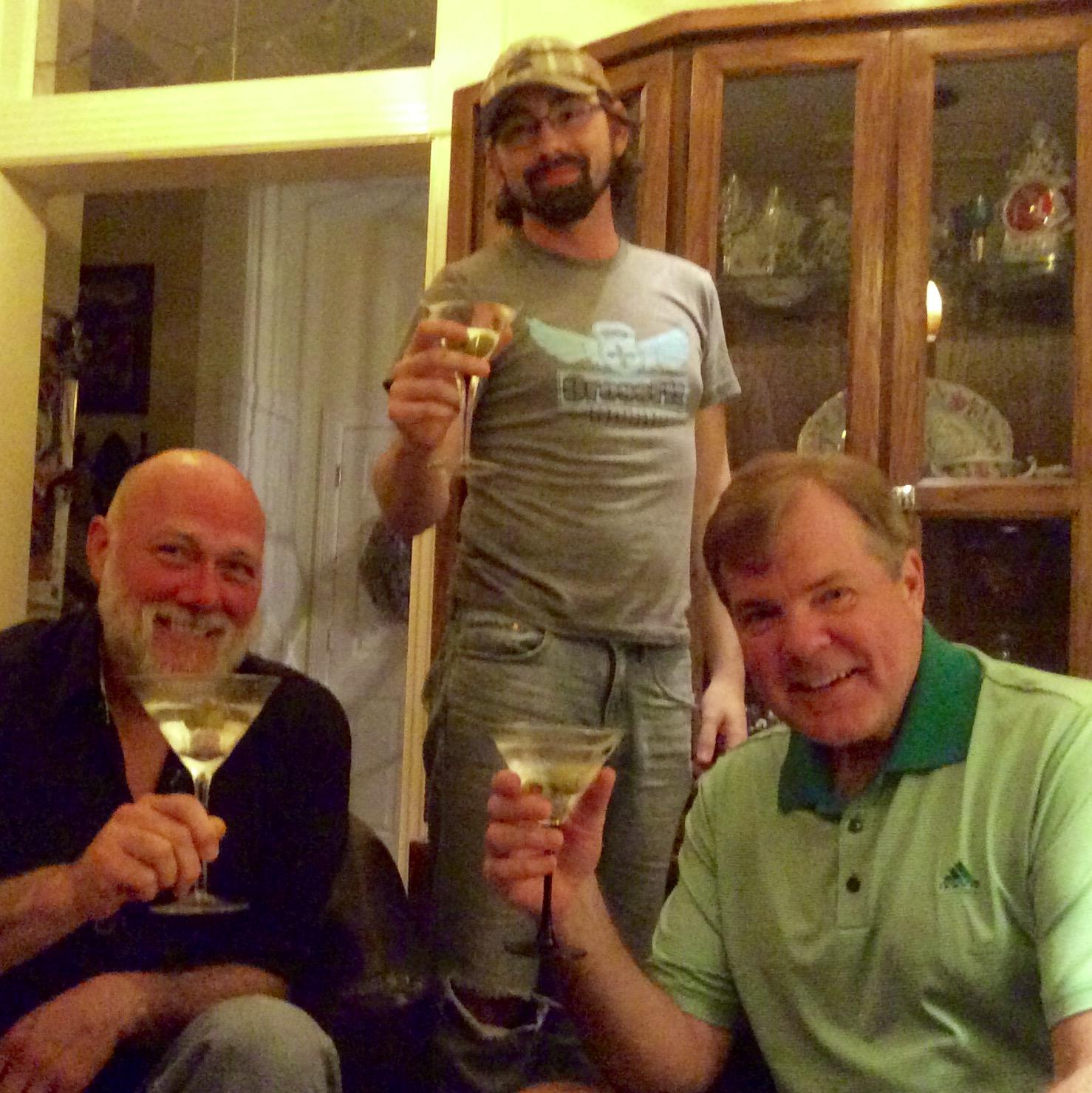 Steve Trash, Robert Livingston and Scott Wells enjoying martinis and magic conversation.