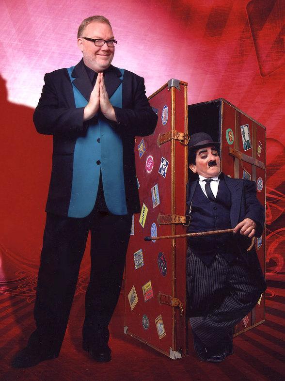 "Kevin James and Antonio Hoyos as ""Charlie Chaplin"""