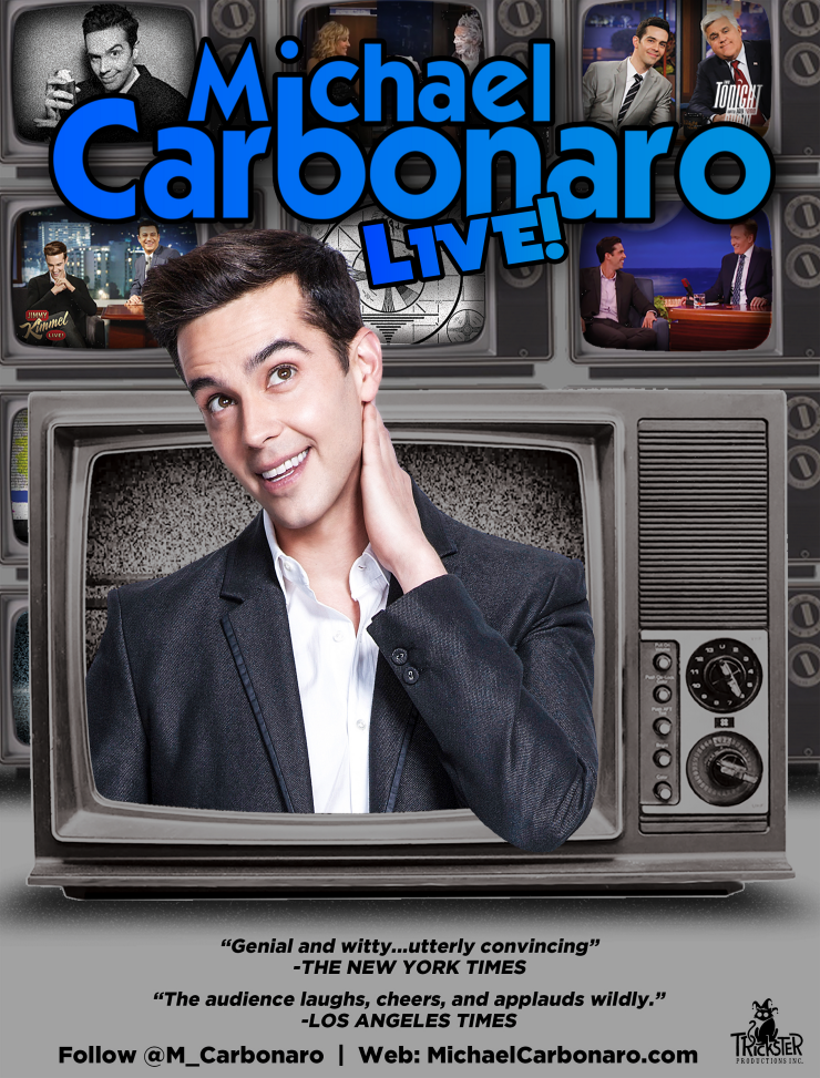 Watch for a new contest next week for free tickets to the Michael Carbonaro Live! show. Click on the graphic above to see if he will be in your city!
