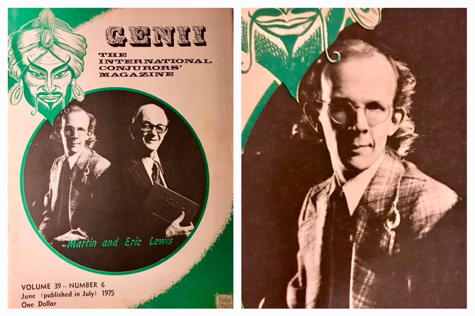 1975 cover of Genii Magazine with Martin and his father, Eric Lewis