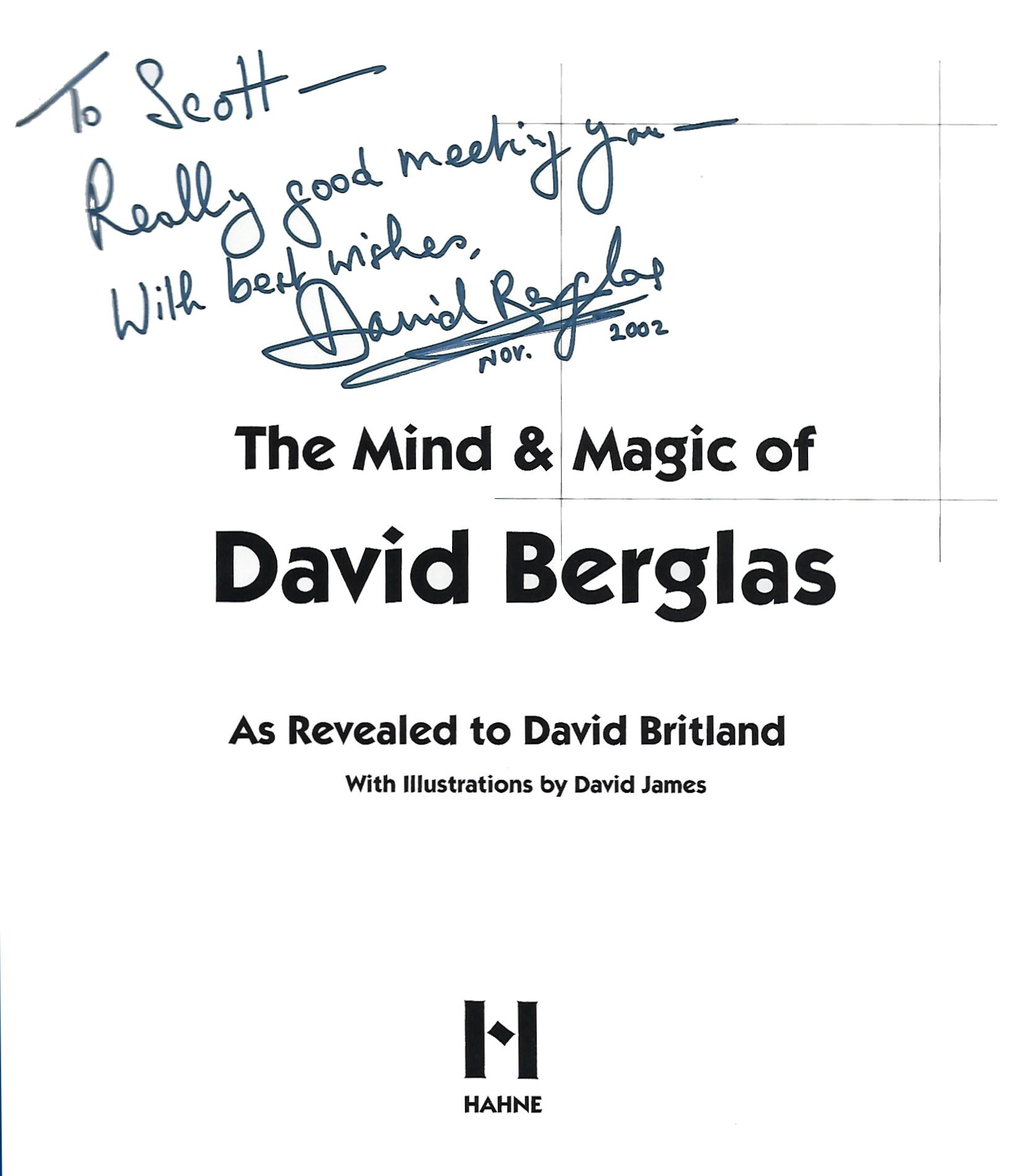 """Autograph in frontice piece of """"The Mind & Magic of David Berglas"""""""