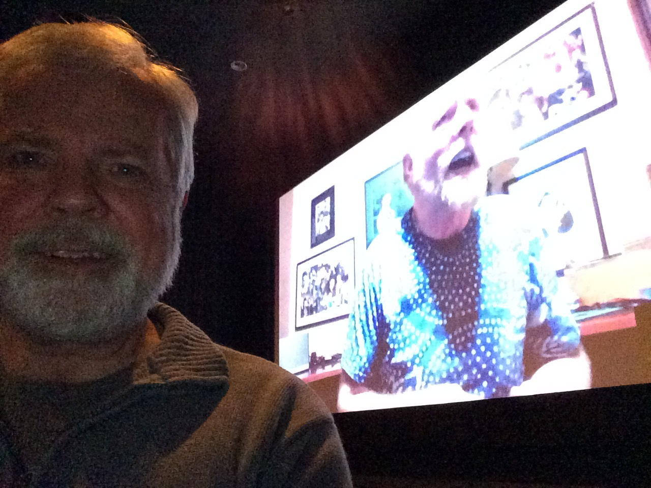 Richard Turner on the movie screen during the Q&A