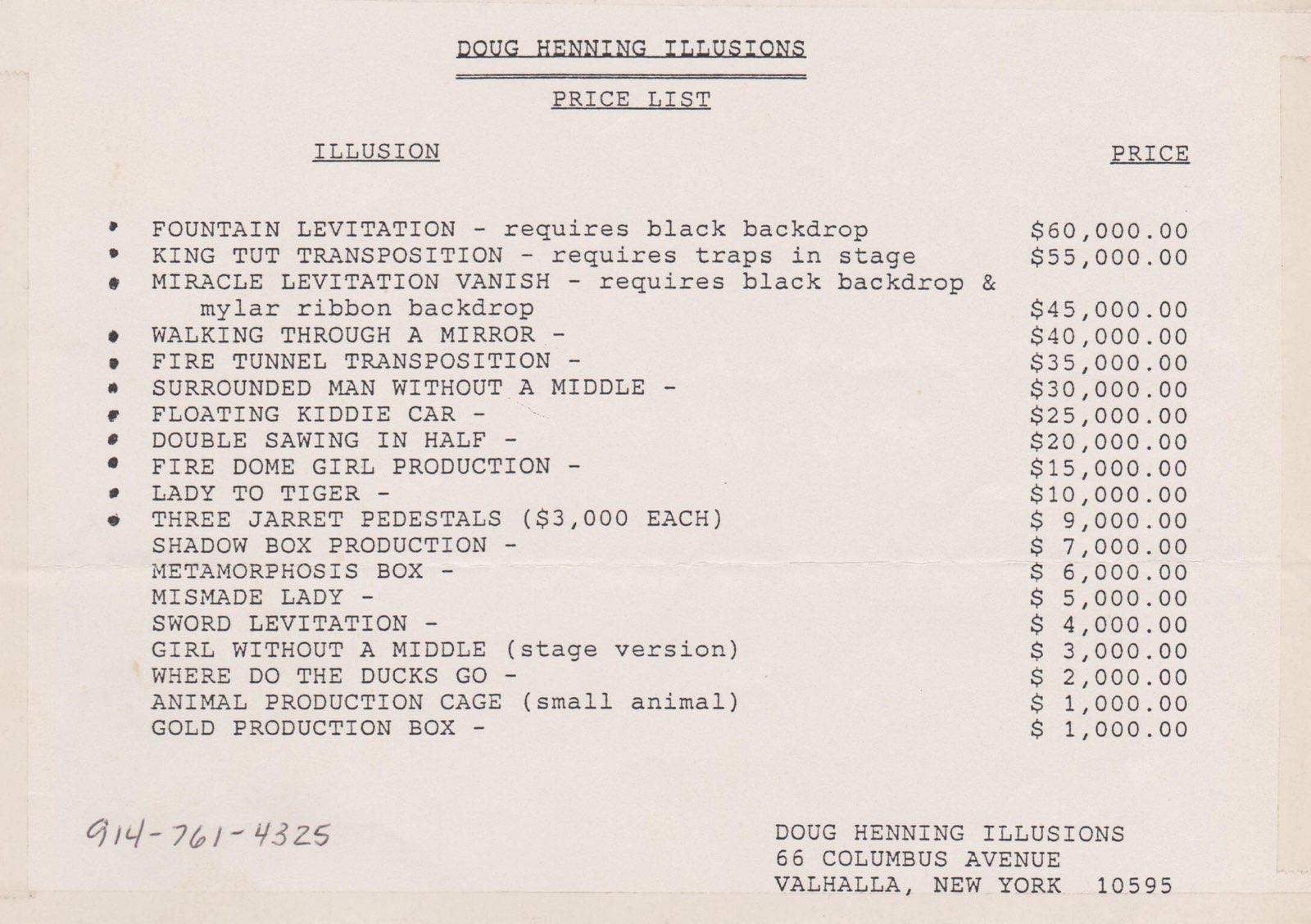 Price List of Henning Memorabilia 1989