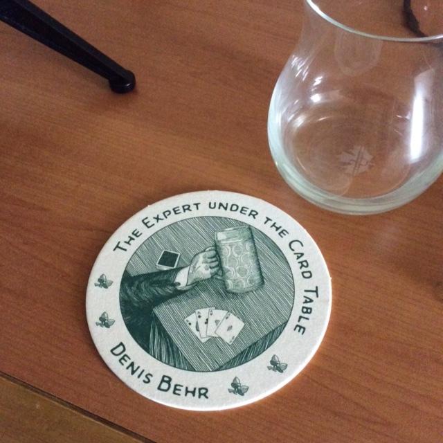 Denis Behr's business card - a beer mat
