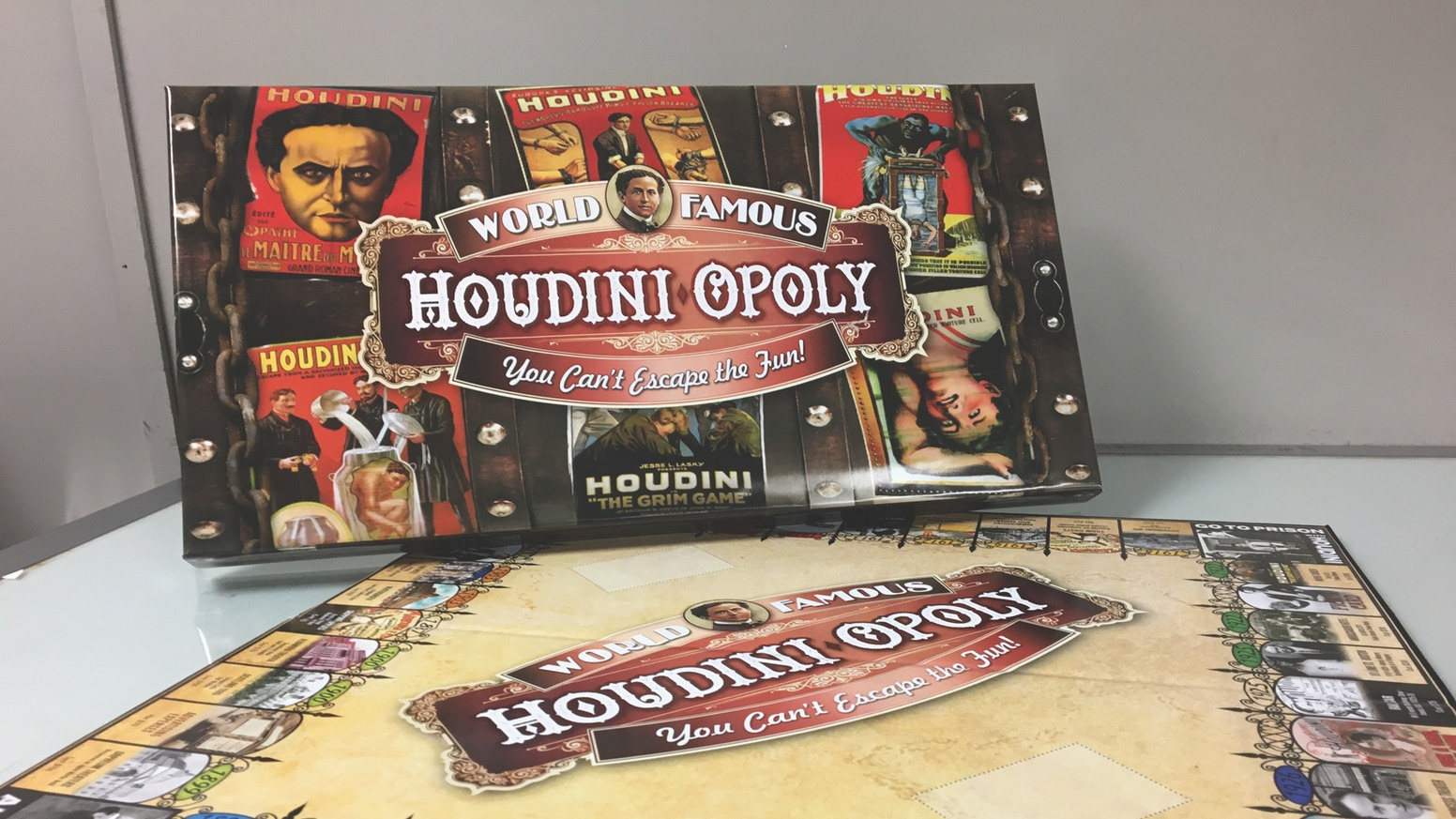 Escape from the ordinary board game. Now available after long last. Click on the graphic above to visit the Houdini-Opoly website to order your new, fun and exciting board game. You can learn more about it in our  podcast #341 from January 26, 2017 .