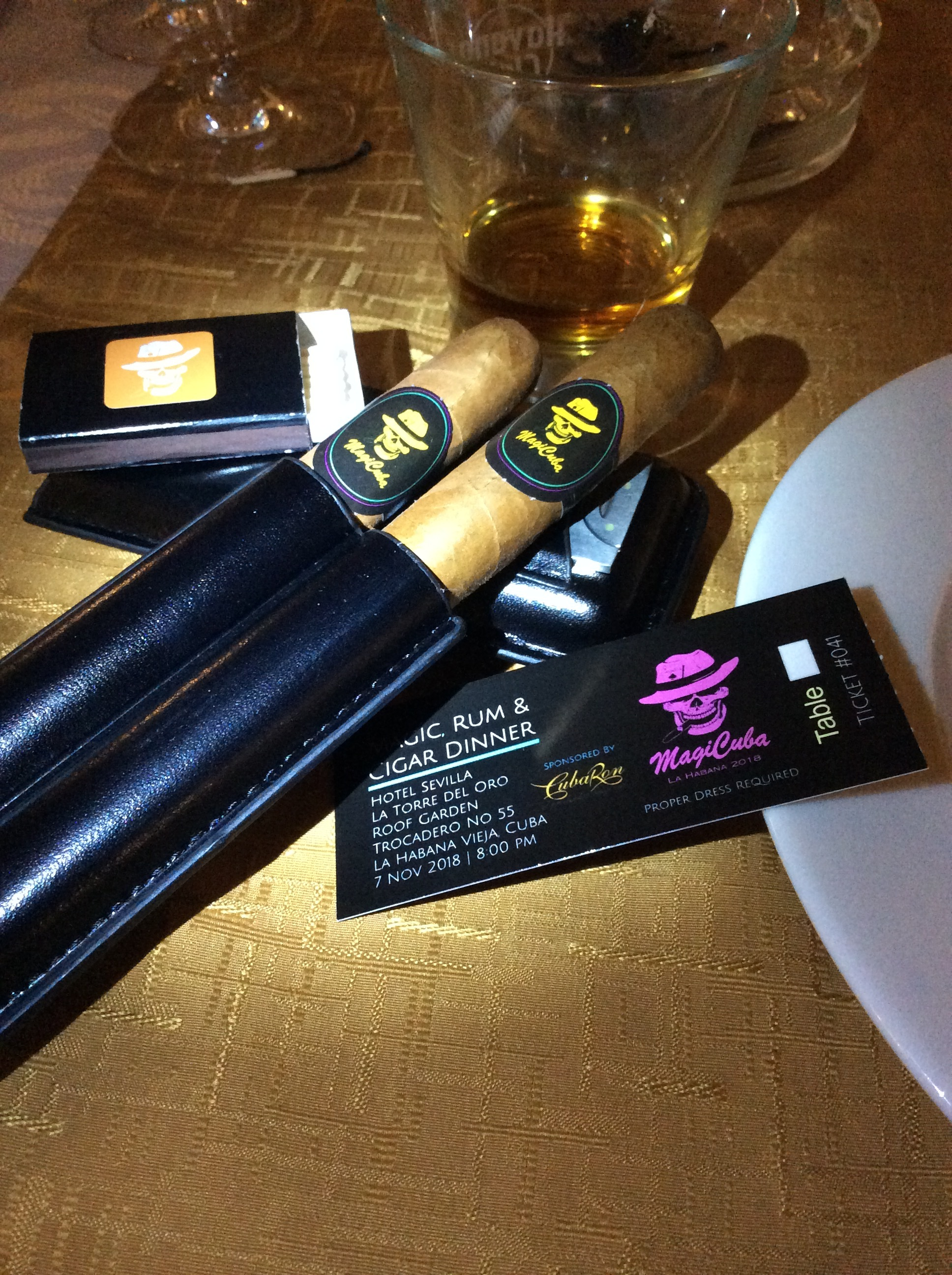 "Special gifts for attendees at ""Run & Cigar"" Dinner"