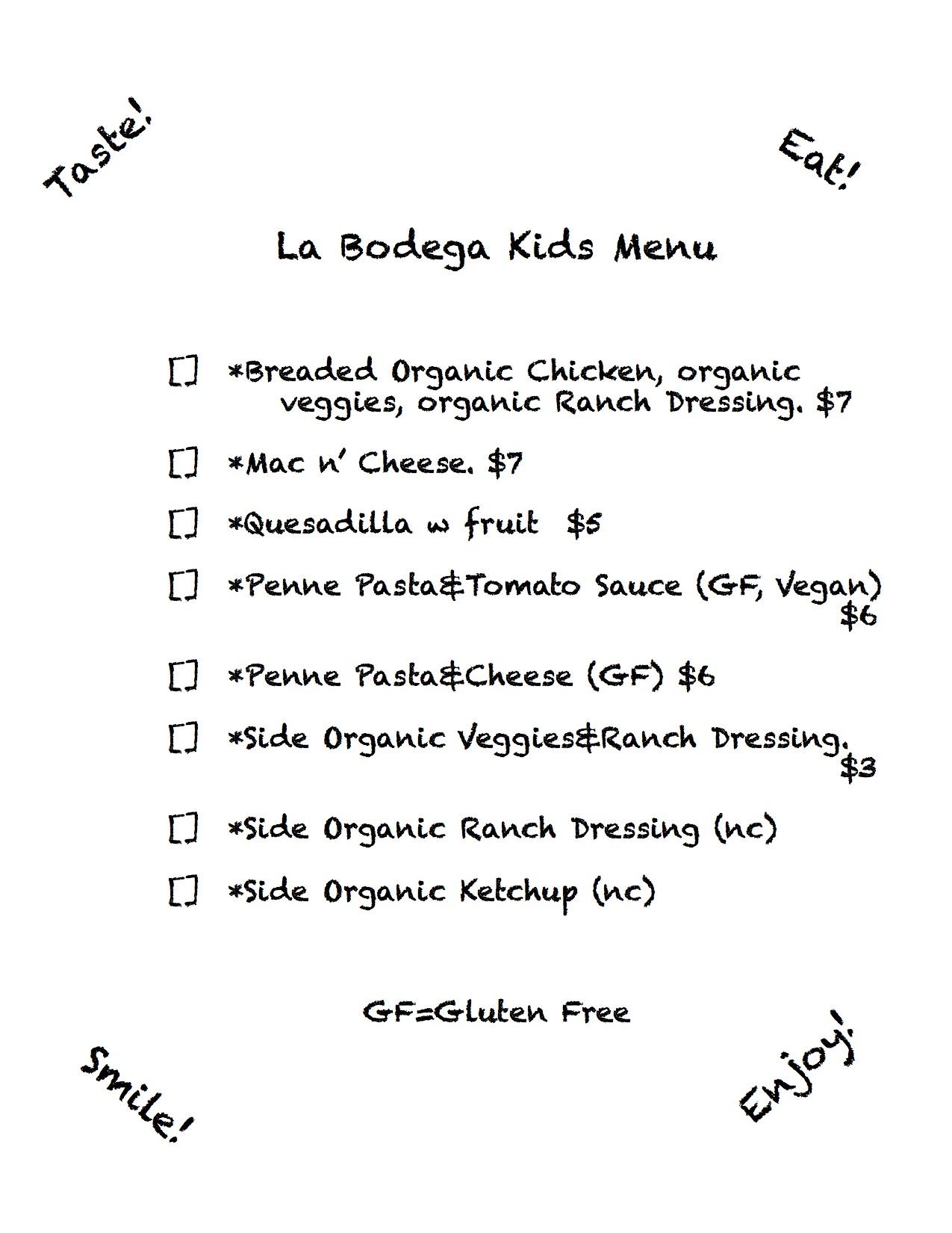 Kids Ala Carte menu