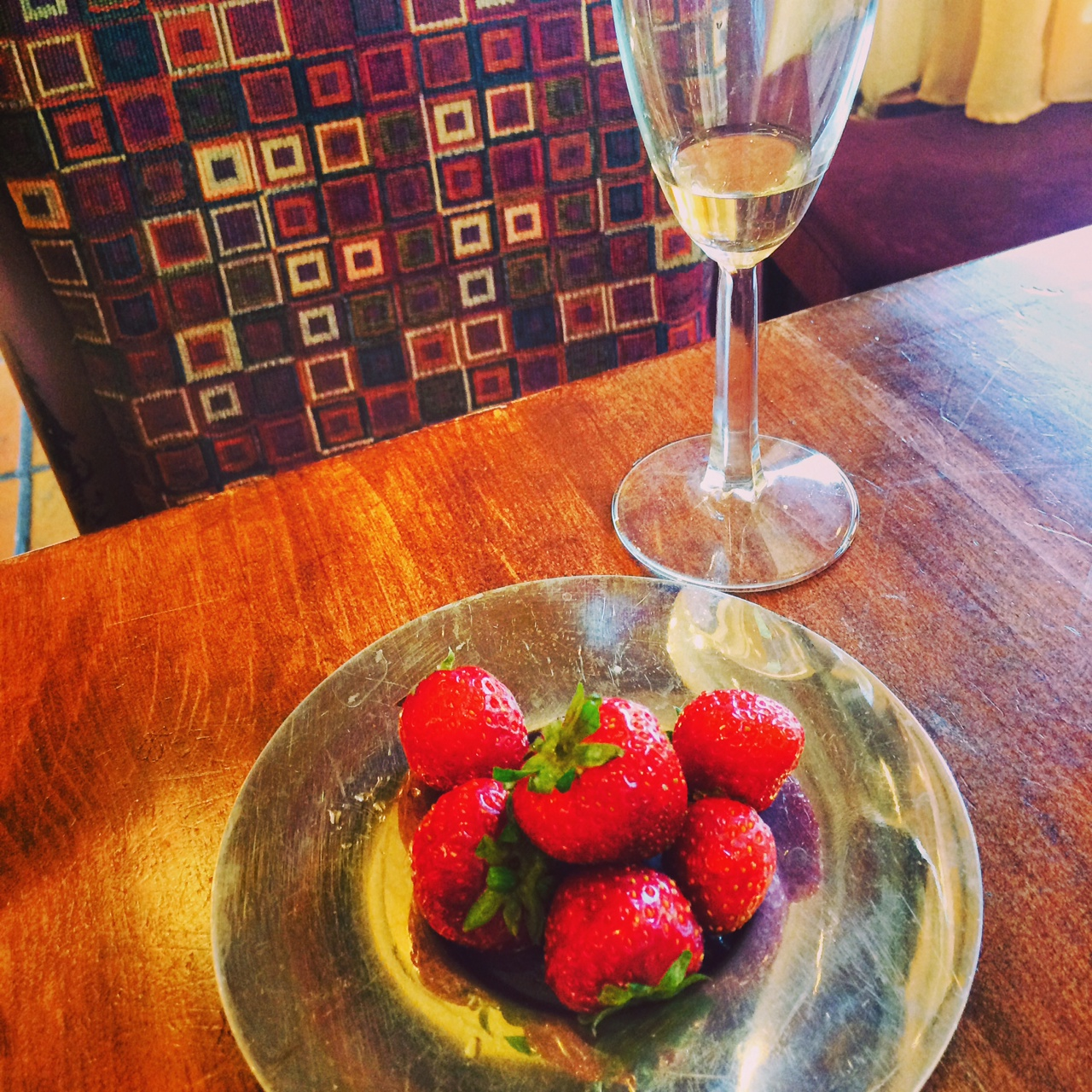 Local fresh strawberries, sparkling wine and a great way to spend Sunday afternoon