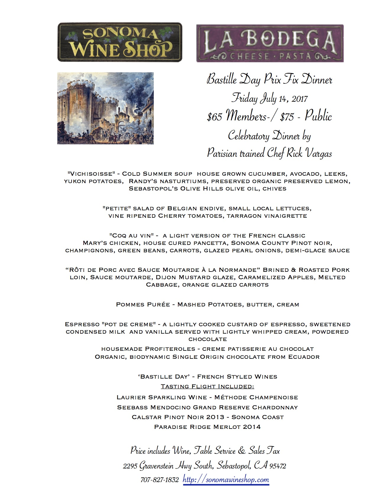 A special menu, wine pairing included, that would make anyone from France cry tears of joy.