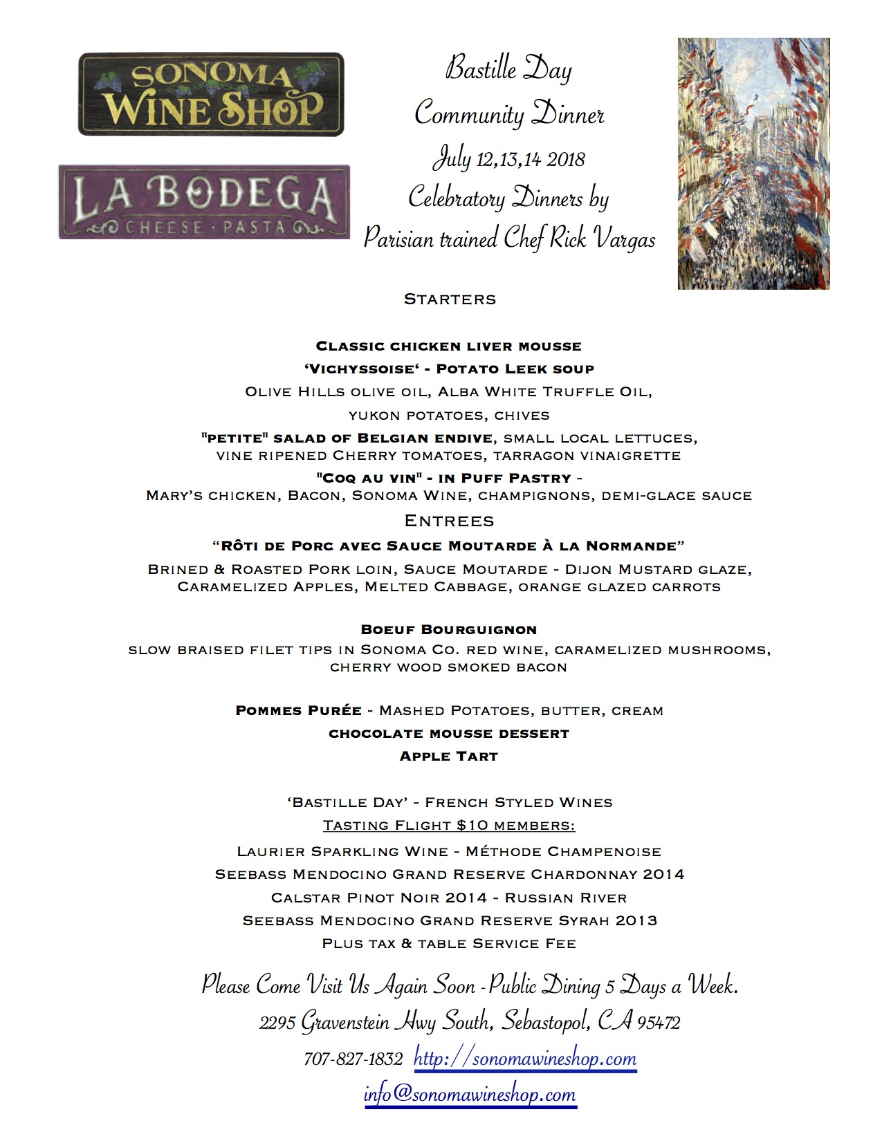A special menu that would make anyone from France cry tears of joy.