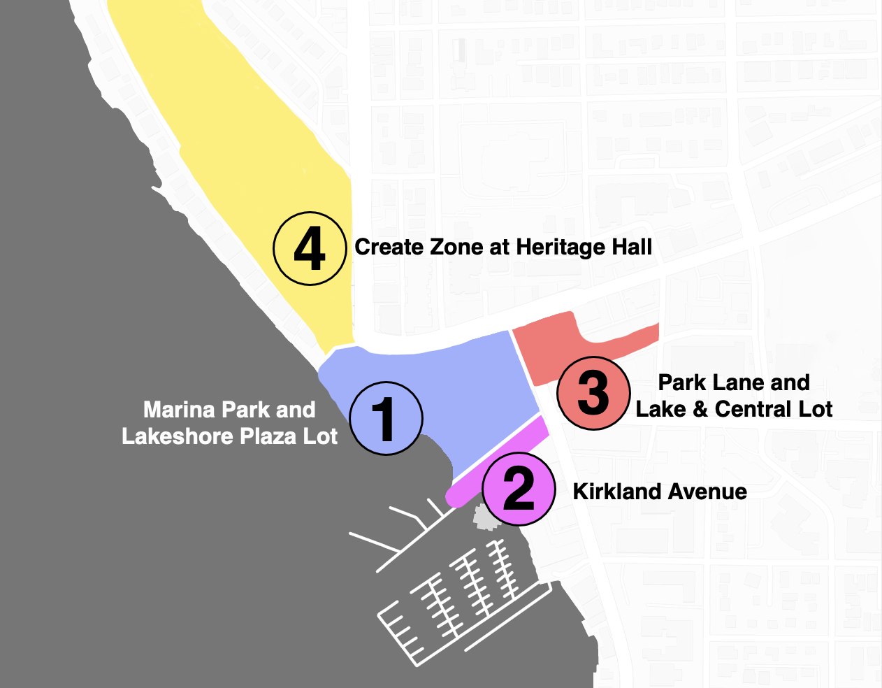 The fair will take place in Zone 3 within Park Lane and the Lake and Central Parking Lot.