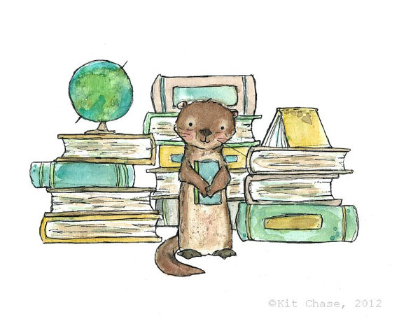 """Bookish Otter"" from trafalgarsquare on Etsy."
