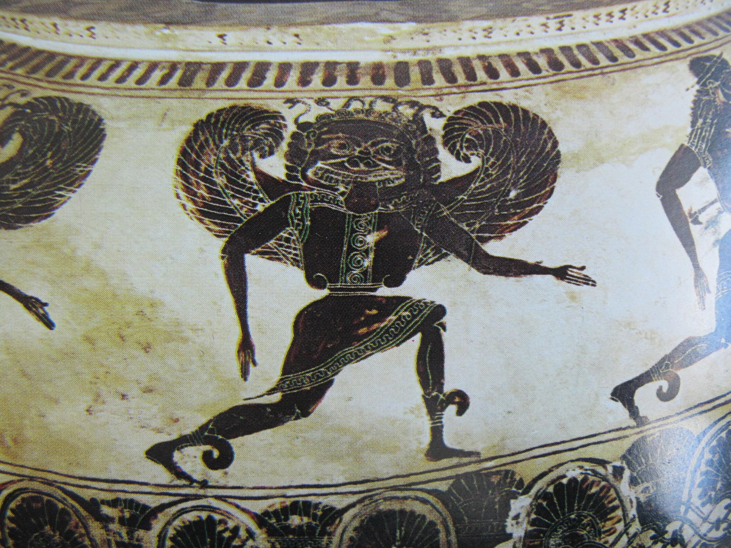 Black figure painting of Medusa