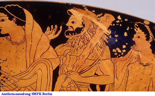 Red figure painting of Hercules carrying his club and wearing his lion skin