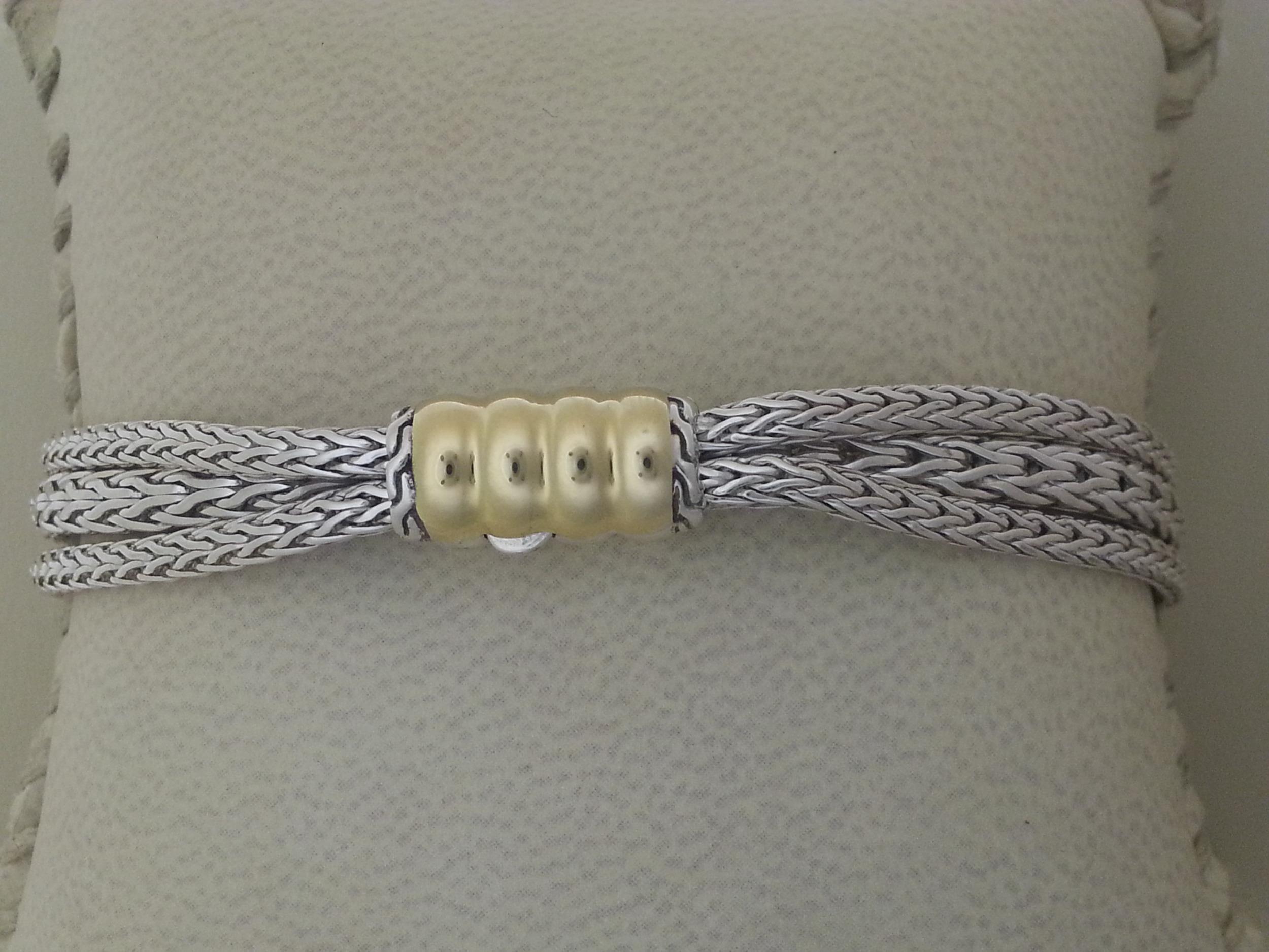 Two tone John Hardy bedeg multistrand bracelet