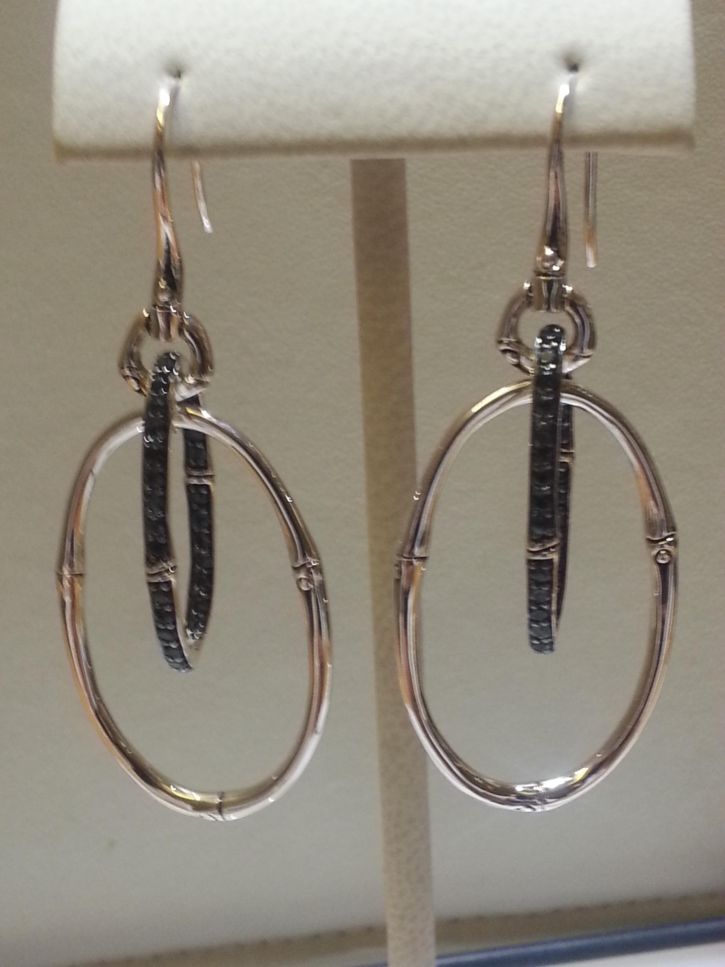 John Hardy blue topaz and silver earrings
