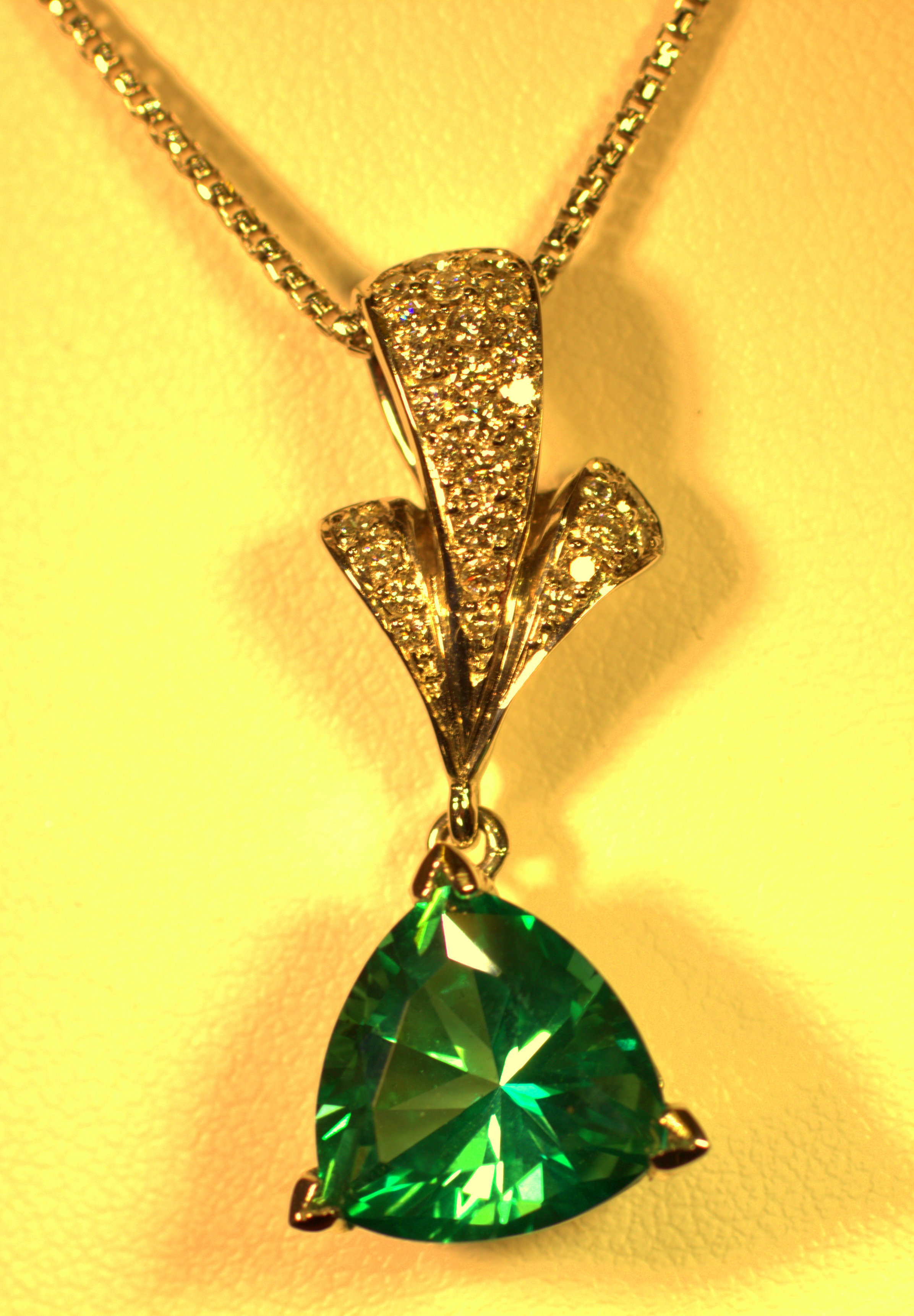 seafoam green tourmaline custom designed by Mark Schneider beautiful light seafoam green pendant with diamond accent modern with a classic twist available at marlen jewelers in rocky river minutes from cleveland.jpg