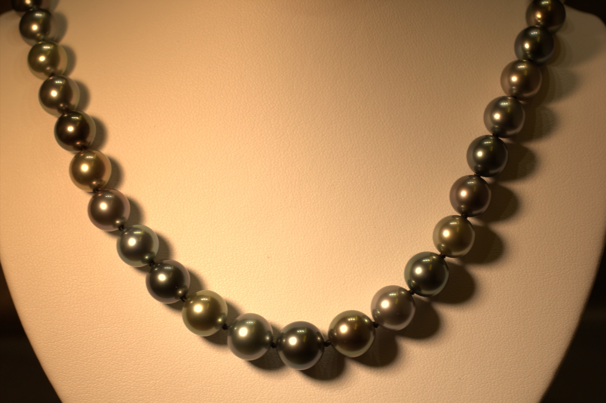 Amazing alternating colors from tahitian grey to black. Pearls by Mastoloni, truly the prettiest pearls in the world. Beautiful white gold clasp, great shine and luster.  $5000