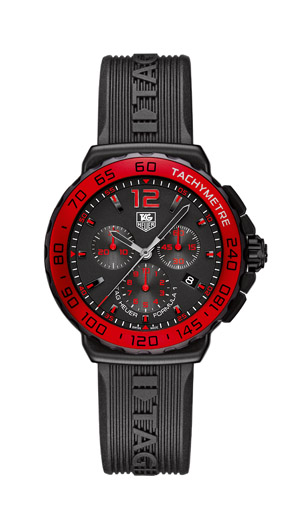 This watch has red accents on a traditional black face chronograph formula 1. It features a rubber band that is emblazoned with the Tag Heuer logo. Great gift for him, gives that little pop of color to a black tie world.   $1,600  $1600