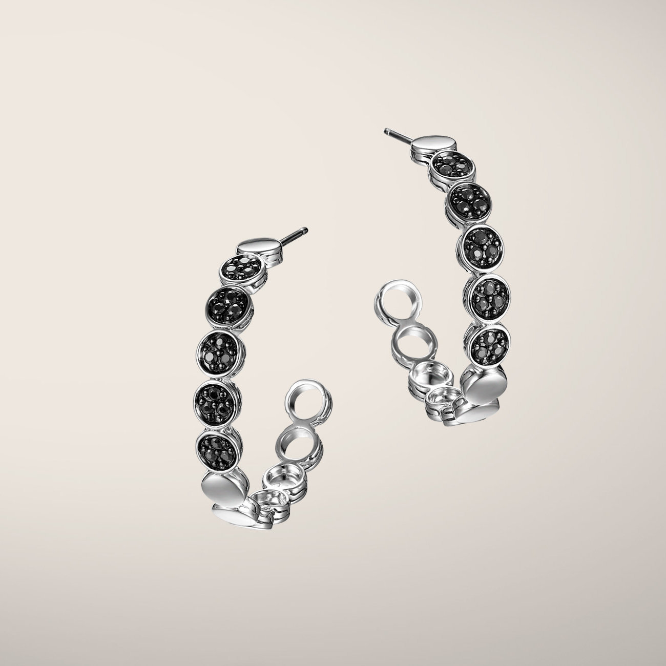 John Hardy black sapphire dot hoop earrings. A modern take on a classic style.  $425