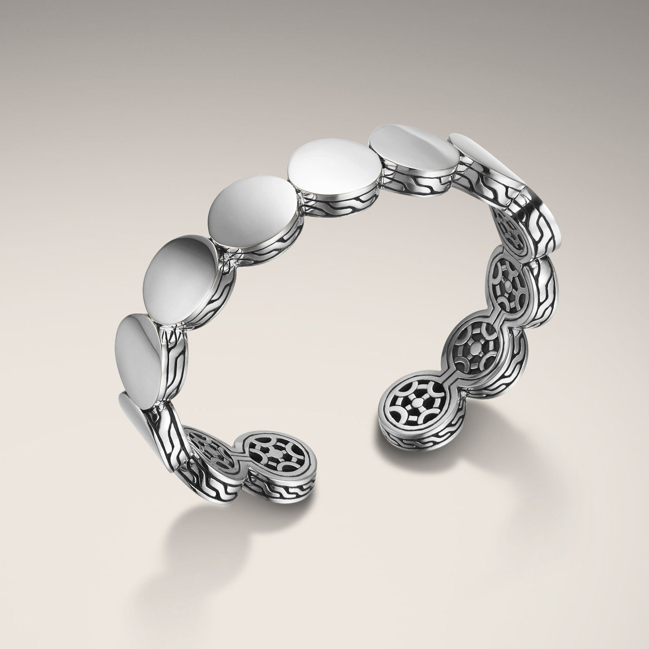 John Hardy dot collection. Polished silver and classic chain style flexible cuff bracelet.   $795