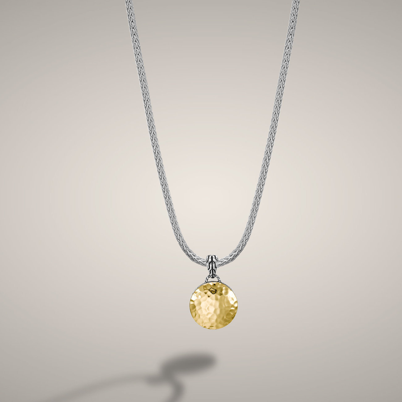 John Hardy dot collection reversible 18 karat yellow gold and silver dot pendant. Classic style chain.  $695