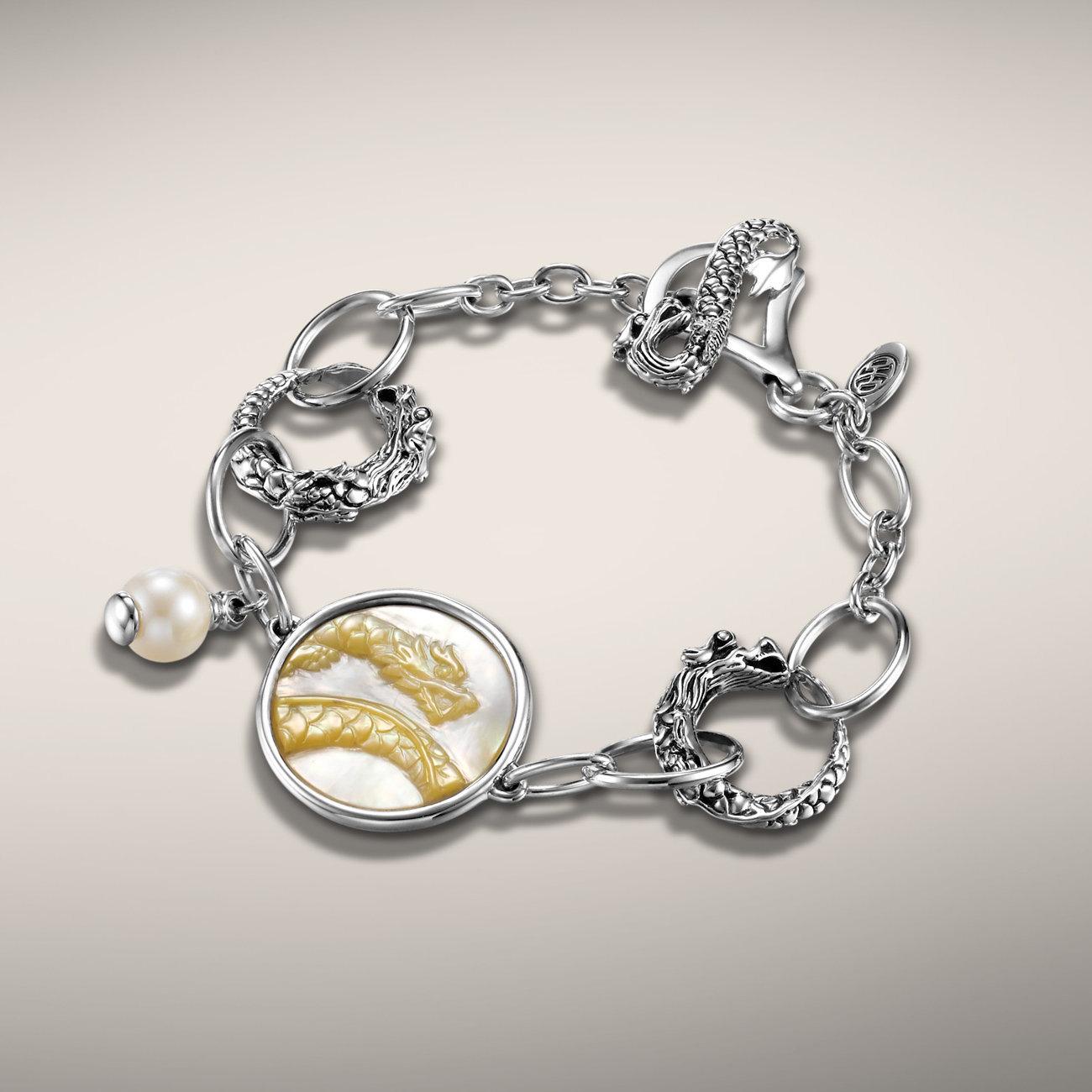 John Hardy naga dragon bracelet with mother of pearl carved dragon. Handmade in Bali.  $450