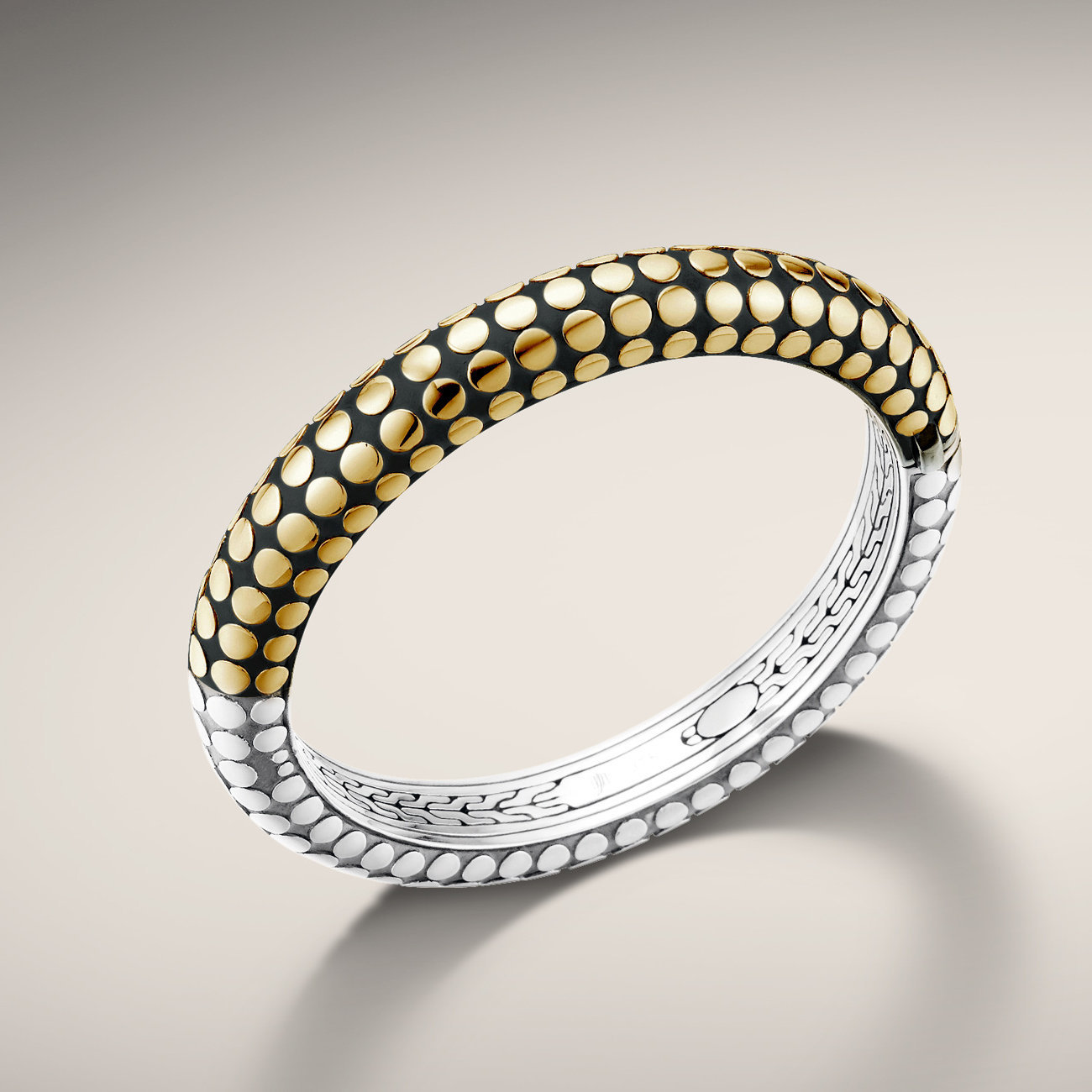 John Hardy dot collection reversible bangle bracelet. Opens and closes with a hidden clasp Handmade in Bali.  $1395