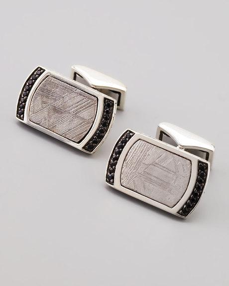 John Hardy sterling silver meteorite black sapphire cuff links. Handmade in Bali.  $550