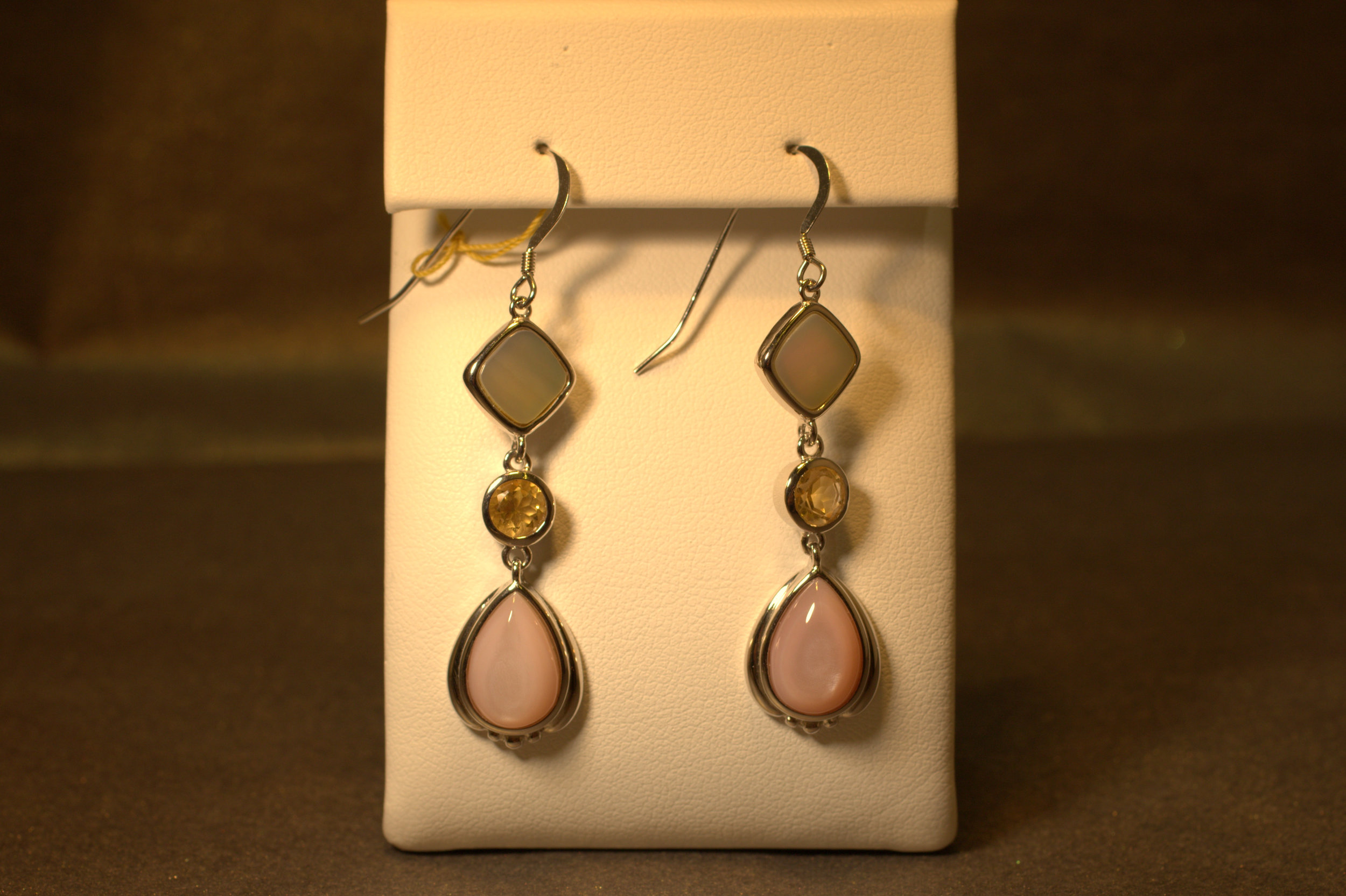 Pink and white mother of pearl and citrine sterling silver earrings. Shiny and colorful with lots of movement.   $75
