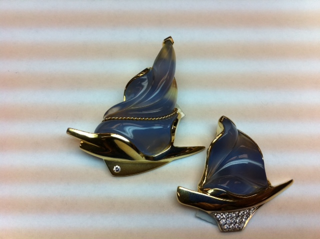 Mark Schneider sailboats with carved blue chalcedony and diamonds.   $4995