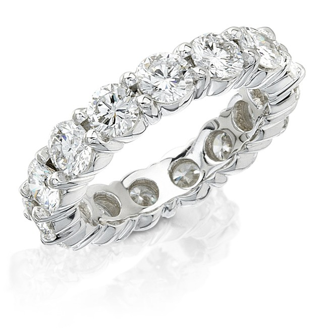 Platinum diamond hand crafted in New York eternity bands completely colorless diamonds custom made in 1-2 weeks starting at $4000.00
