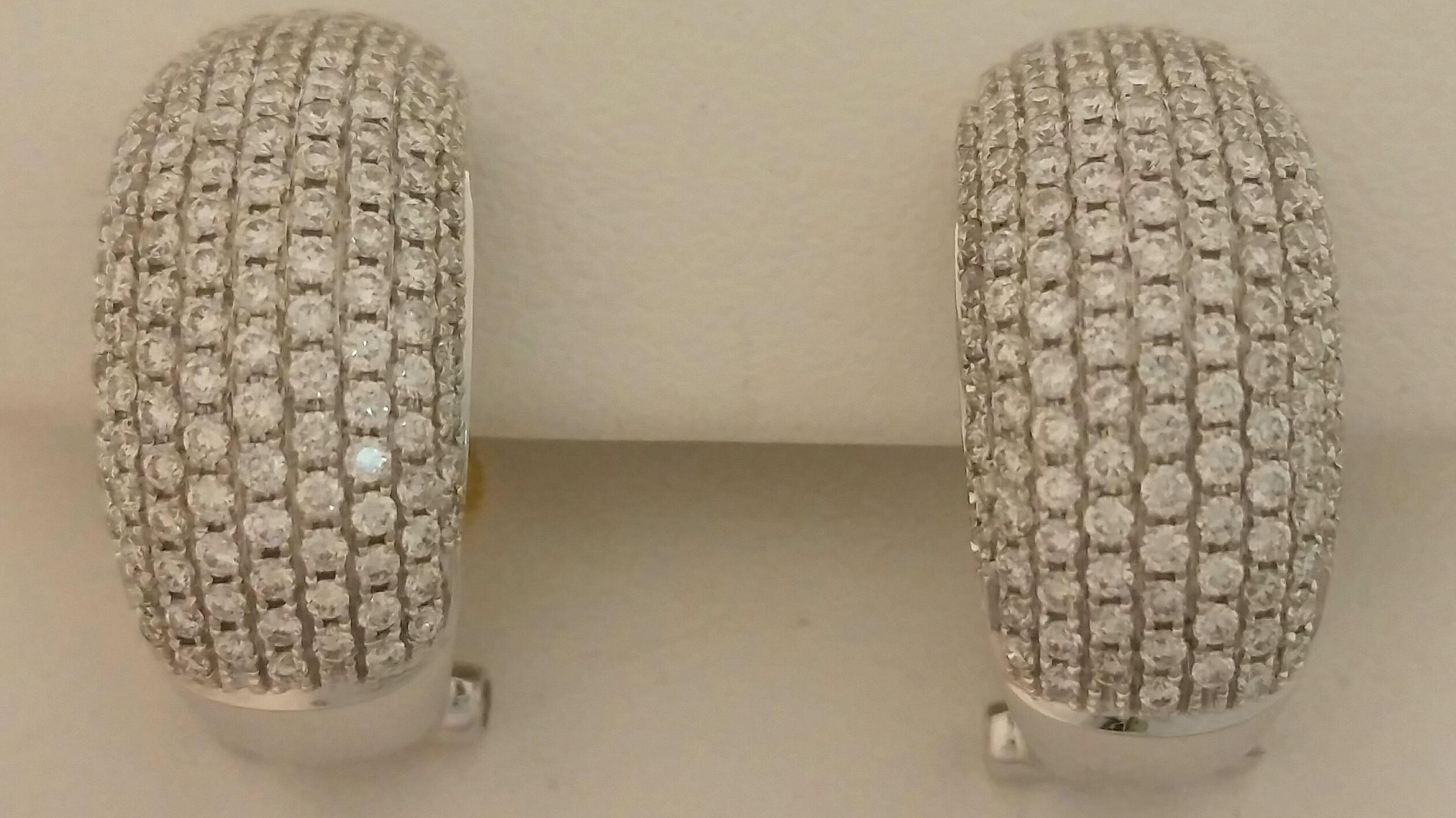 18 Karat White Gold 2 Carat Diamond Pave Hoops