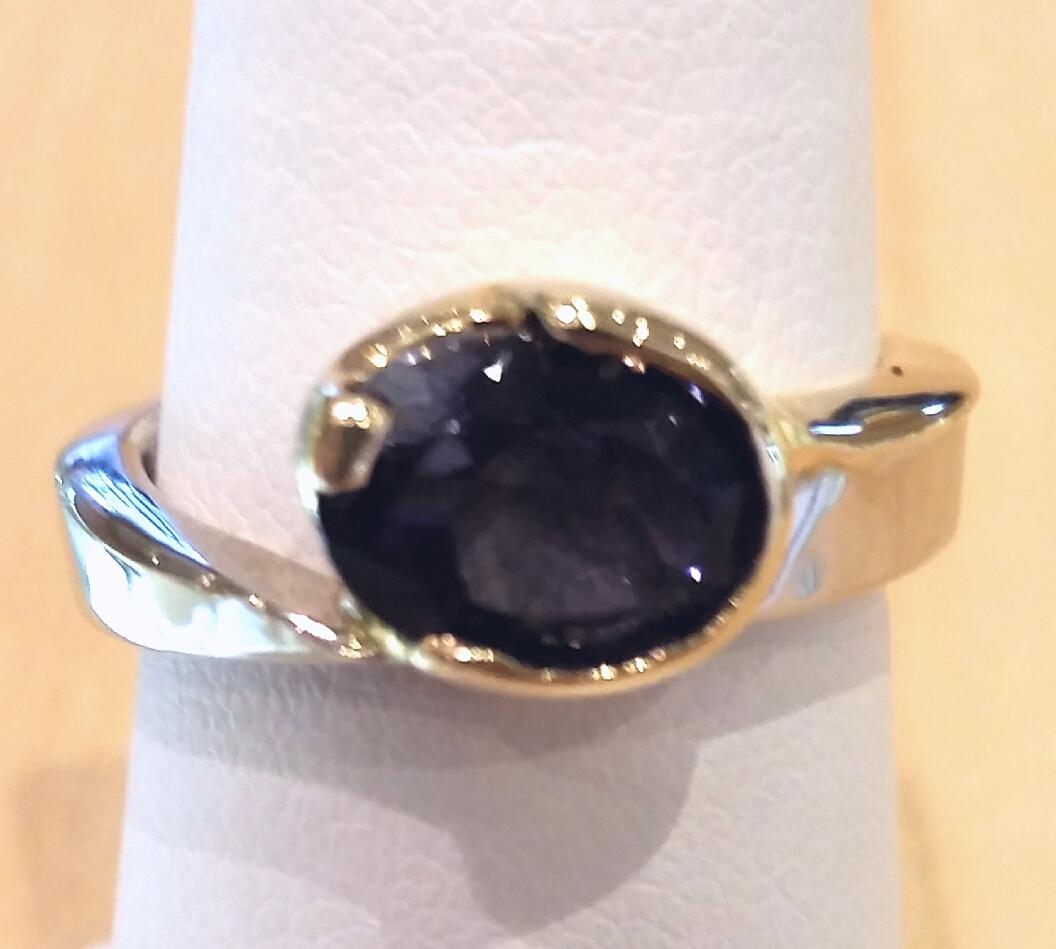 Two Tone Gold 1.35 Carat Tanzanite Ring