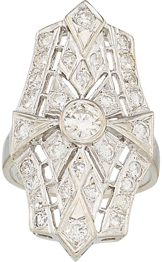 14kw center bezel set diamond filigree ring - 1.54 carats total; center stone .34ct, colorless diamonds