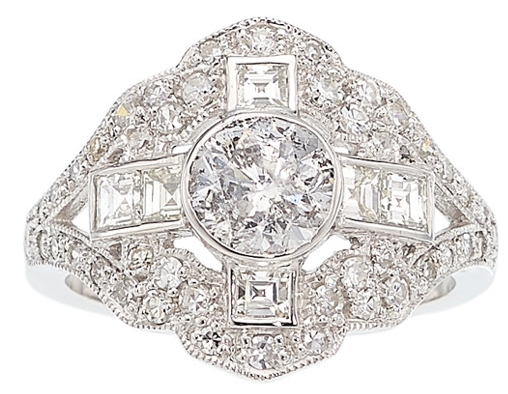 Platinum 1.03 carat center bezel set center stone, French cut square accents, 2.13 carat total