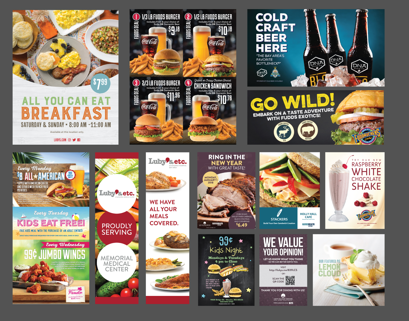 In-Store POP:  22x28 Posters, Banners of various sizes (horizontal and vertical), Menu Board Panels, Color Copies (8.5x11), Table Tents and Display Signages.