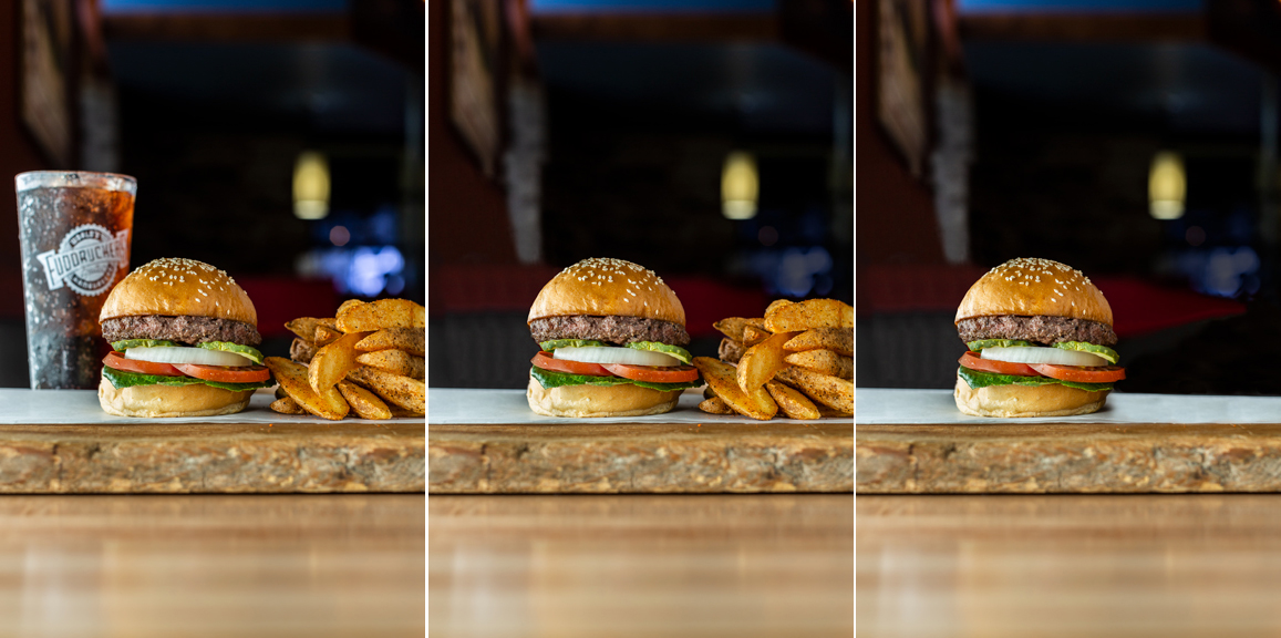 Photo Retouching:  Sometimes a drink is not needed in the art.  Sometimes fries are not needed either.  So I'm able to make it work with just one burger.