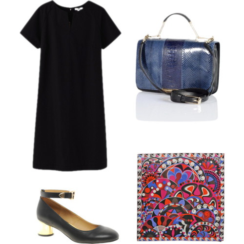 dress - uniqlo, $40 ;  bag - pucci,  $you-don't-want-to-know;  scarf - vintage pucci , price unknown;  shoes - asos , $66.50