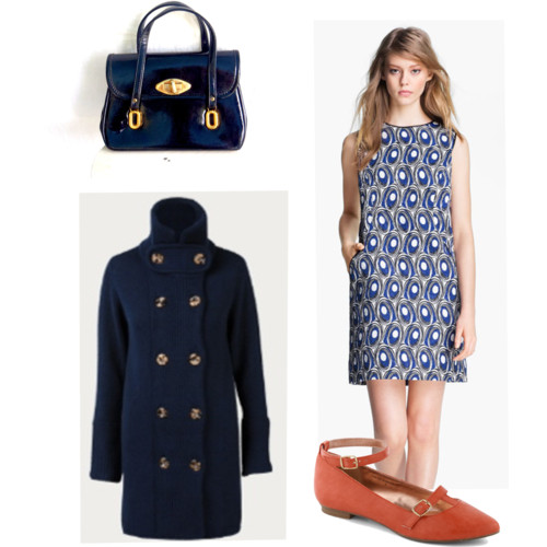 bag - vintage on etsy,  $26;  dress - miss wu , $465;  coat - Freda, unavailable  (similar option here) ;  shoes - modcloth  ,  $50