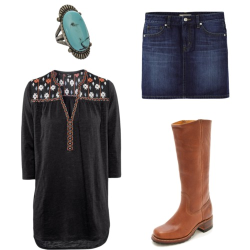 ring  - $69,    skirt  - $30,  boots  - $208 ,  tunic  - $23