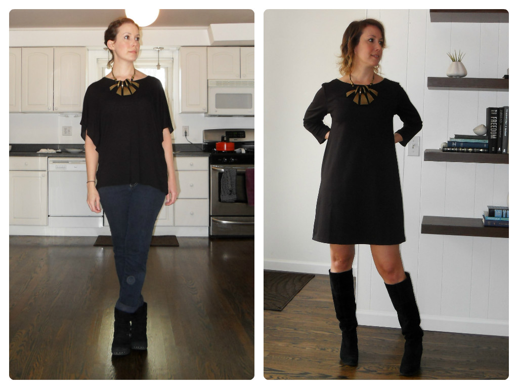 Left - tee: h&m; jeans: thrifted; boots: dansko; necklace: flea market find. Right - dress: h&m; necklace: flea market find; boots: nine west