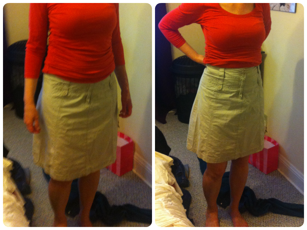 Trying things on - isn't it amazing what a difference a different waistline and hemline can make?