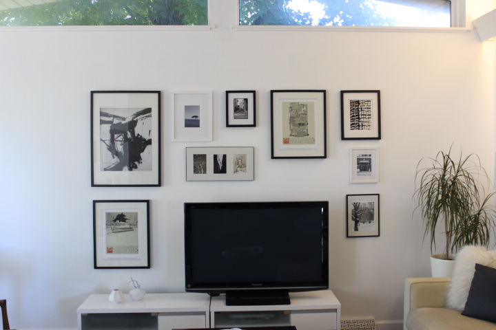 black and white artwork gallery wall