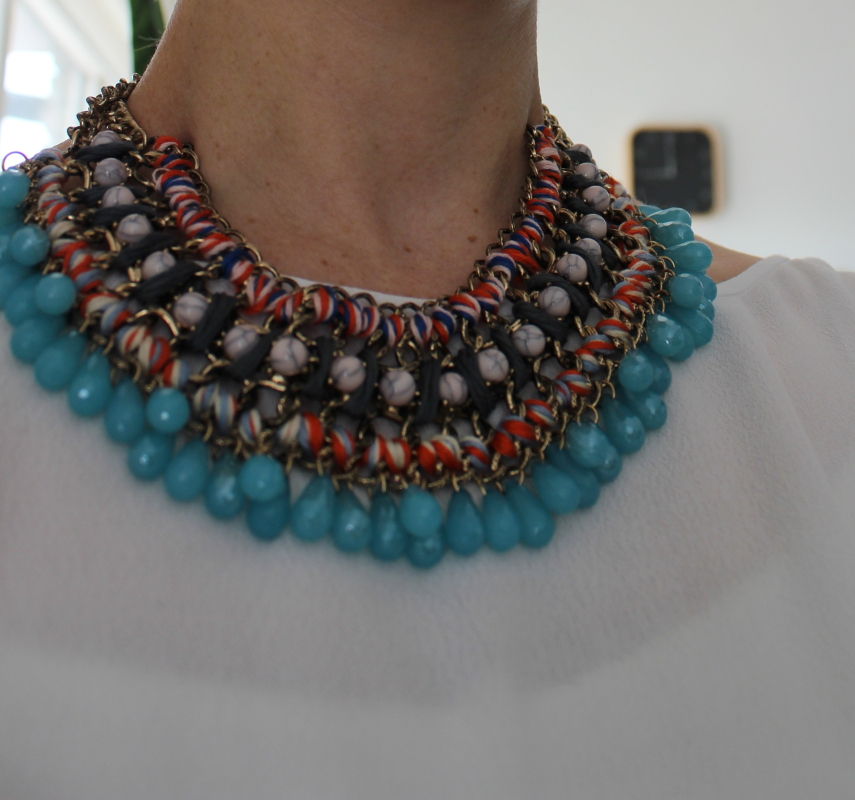 zara diamante and cord necklace