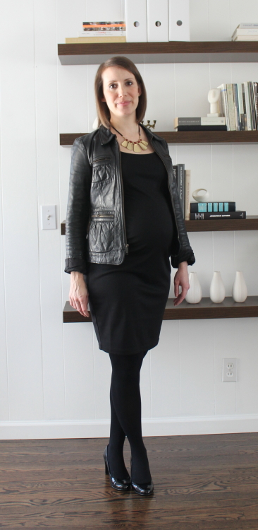 JC Penney necklace,  Old Navy dress , old Banana Republic leather jacket,  H&M Maternity tights , Nine West pumps ( similar )